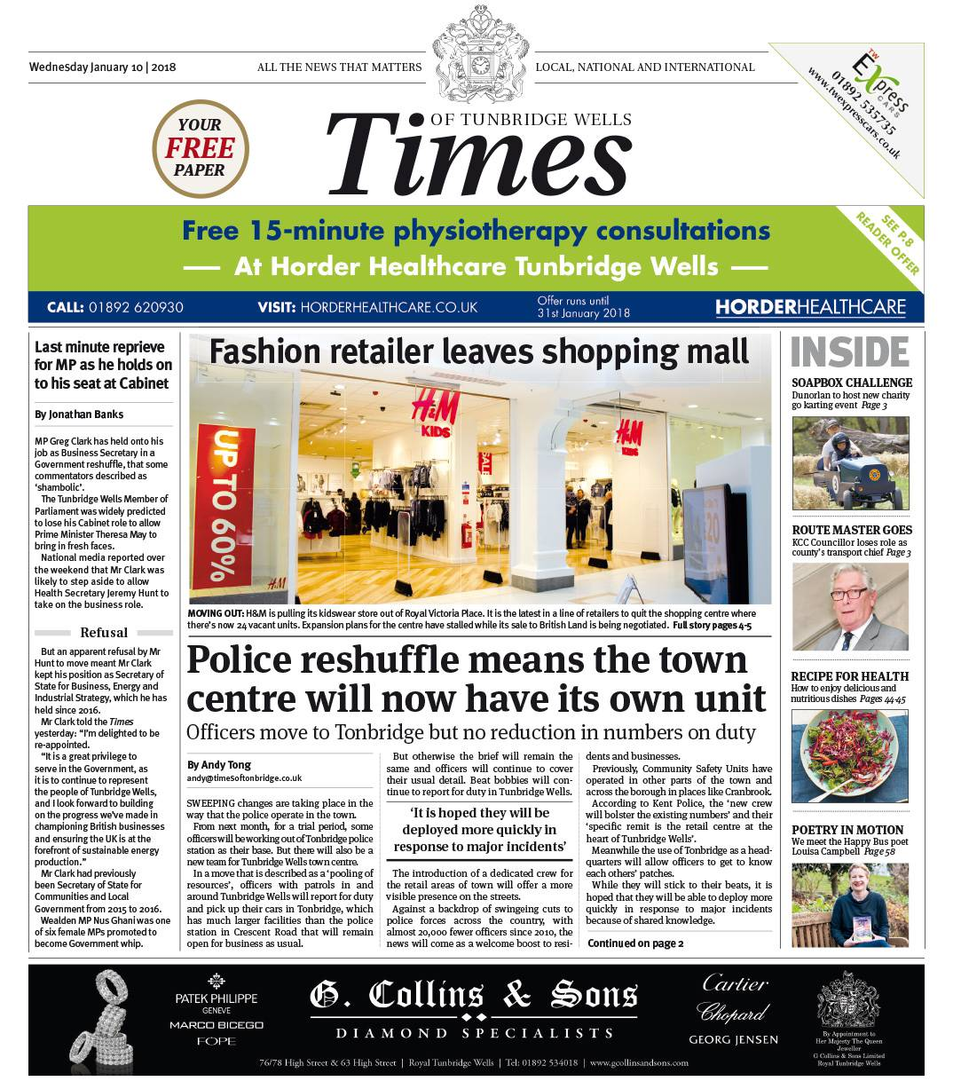Read the Times of Tunbridge Wells 10th January 2018