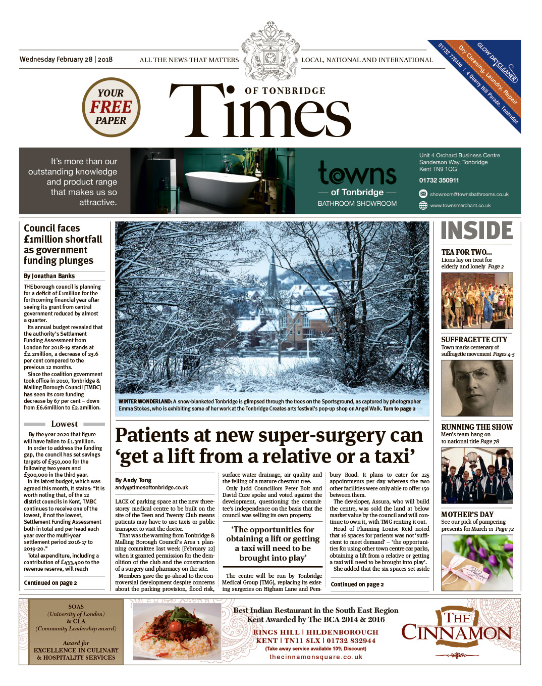 Read the Times of Tonbridge 28th February 2018