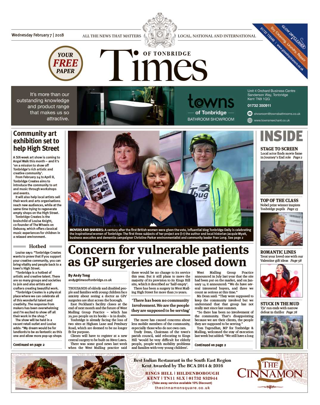 Read the Times of Tonbridge 7th February 2018