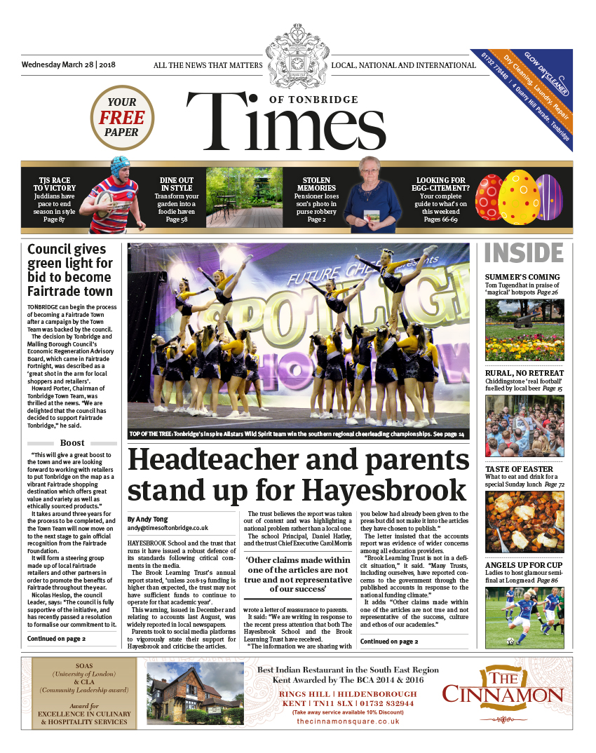 Read the Times of Tonbridge 28th March 2018