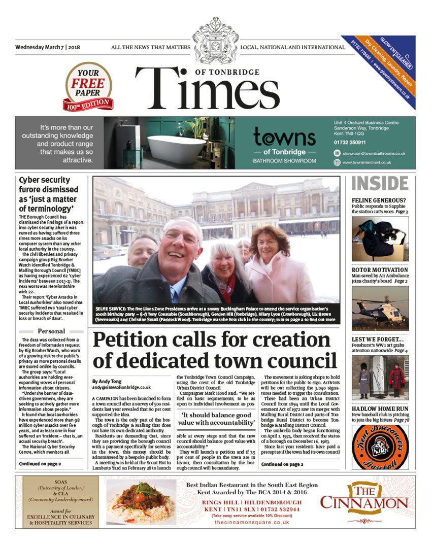 Read the Times of Tonbridge 7th March 2018