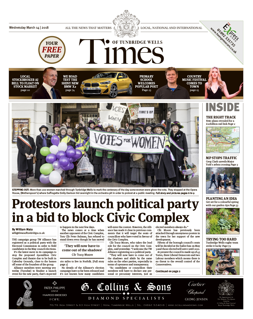 Read the Times of Tunbridge Wells 14th March 2018