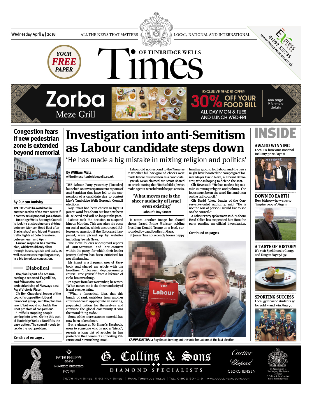 Read the Times of Tunbridge Wells 4th April 2018