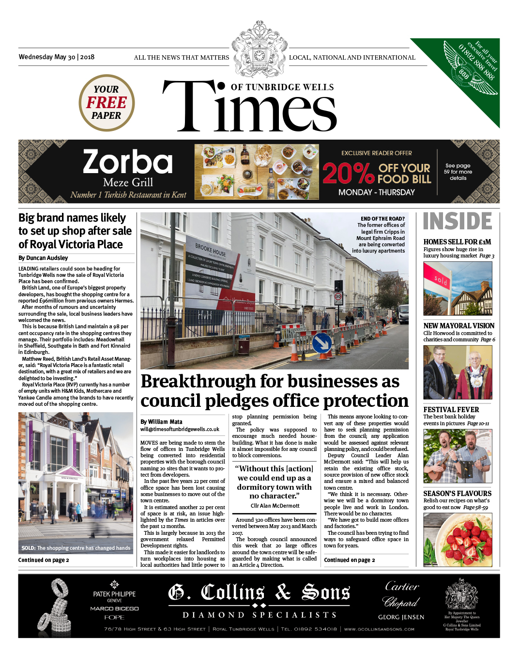 Read the Times of Tunbridge Wells 30th May 2018