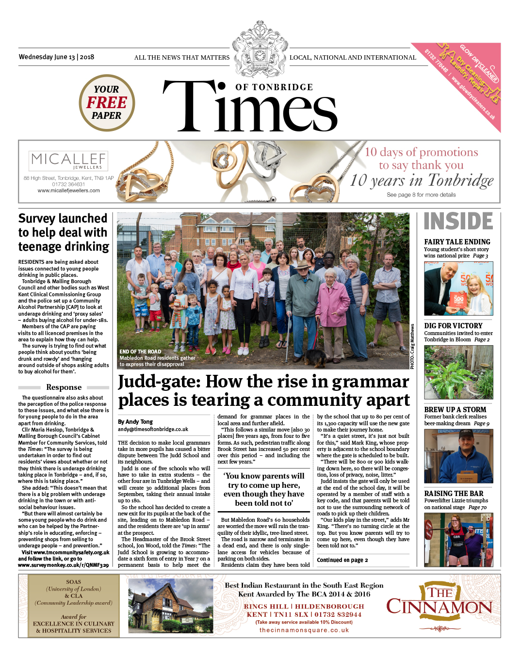 Read the Times of Tonbridge 13th June 2018