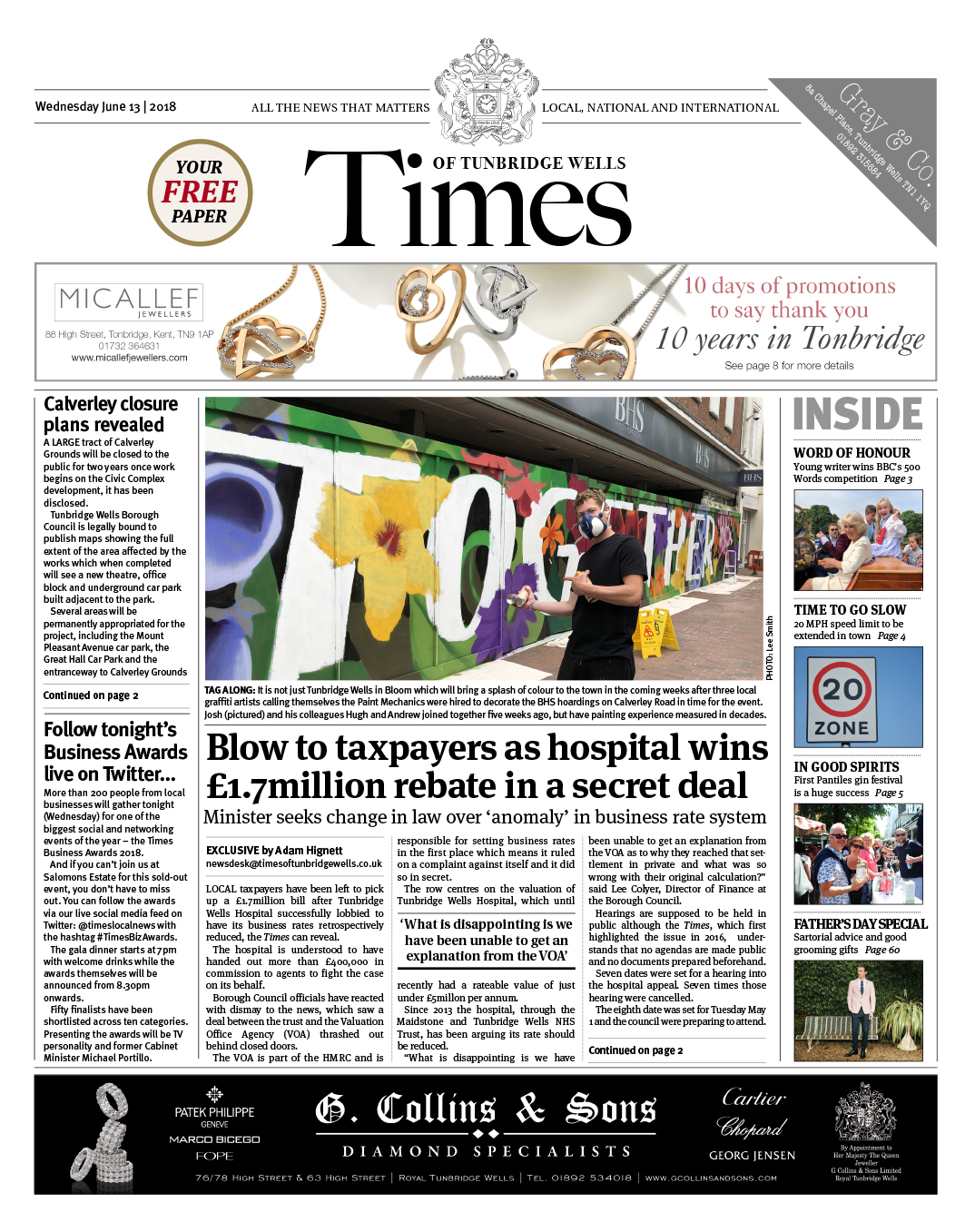 Read the Times of Tunbridge Wells 13th June 2018